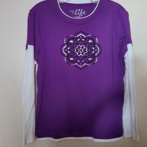 MADE FOR LIFE Purple white NWOT  Size PM